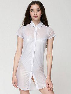 Shiny Mesh Button Up Dress | American Apparel