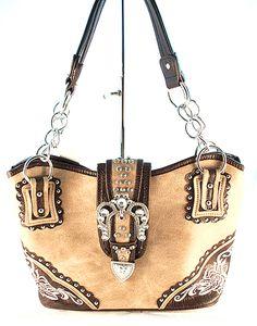 Concealed Carry CCW Handbag / Embroidery & Rhinestone Buckle - Tan $59.99 + Free Shipping! wantedwardrobe.net wantedwardrobe.com #shop #CCW #western #fashion #handbags #wantedwardrobe