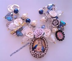 Catholic-Virgin-Mary-Immaculate-Heart-Saints-Medals-Religious-Handmade-Bracelet #Handmade #HolyMedalsCharmspendant www.letyscreations.com