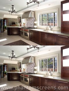 Our retractable window #screens are a must for every #kitchen. Let in the breeze, keep out the bugs! #phantomscreens #windowscreens #windows