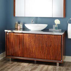 """60"""" Terrence Vessel Sink Single Vanity - Walnut"""