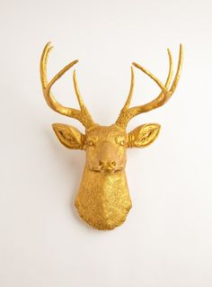 Amazon.com: The Franklin | Resin Deer Head | Gold Deer Head Wall Decor | Stag Head Wall Mount | Faux Taxidermy | Animal Head Wall Hanging Sculpture | Animal Mounts | Trophy Taxidermy: Home & Kitchen