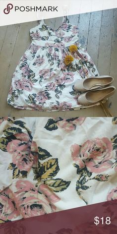 """Floral urban outfitters dress Bought at urban outfitters by """"pins and needles"""". Gently worn, ties in the back.  Cream base and pink floral design. Pins & Needles Dresses"""