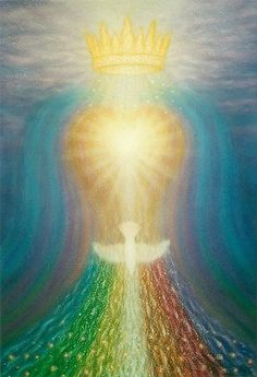The Holy Spirit Dove, heart and golden crown with rainbow colors flowing from Heaven - Helligånden.