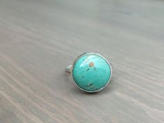 Natural Royston Turquoise Ring, Sterling and Fine Silver Ring, Round Turquoise Statement Ring, Unisex Southwestern Ring, FITS US Size 7.5- 8, Free Domestic and Worldwide Shipping   Introducing The Something Blue Ring... A handmade one of a kind natural turquoise, sterling and fine silver ring.  Turquoise is the birthstone for December