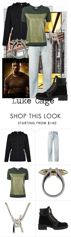 """Power Man"" by raecycle ❤ liked on Polyvore featuring Moschino, Yves Saint Laurent, Fendi, Plukka, Dsquared2, Balmain, marvel, netflix and lukecage"