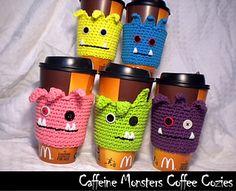 Ravelry: Caffeine Monsters Coffee Cozy pattern by Aunt Janet's Designs Crochet Coffee Cozy, Crochet Cozy, Crochet Gifts, Free Crochet, Yarn Projects, Crochet Projects, Coffee Cozy Pattern, Coffee Sleeve, Crochet Kitchen
