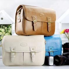 Extra Large DSLR Camera Bag for Women - Retro Canon Vintage Leather Messenger Camera Bag- Best Ladies Stylish Photography Leather Camera Bag