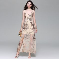 Heavy Hand-made Sequins Sling One Piece Long Dress (S-XXL)