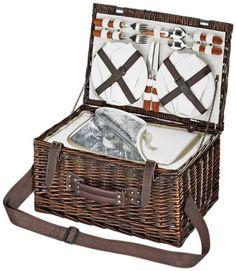 picnic maleta para personas 2 comida cesta G2177 retro cesta de picnic de pastos