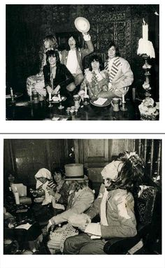 The Rolling Stones, enjoying a food fight at the Kensington Gore Hotel, where the band staged a mock-medieval banquet for the launch of their new album 'Beggars Banquet' 1968