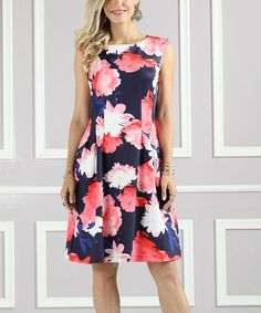 Loving this Navy & Pink Floral Fit & Flare Dress - Plus Too on #zulily! #zulilyfinds