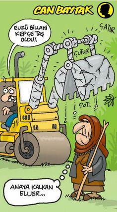 - Euzü Billahi kepçe taş oldu!. + Anaya kalkan eller...  #karikatür #mizah #matrak #komik #espri