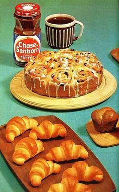 1962 Fleischmann Treasury of Yeast Baking Cookbook - Illustrated / Advertising / Vintage / Bread Retro Recipes, Vintage Recipes, 80s Food, Retro Food, Cute Food, Good Food, Vintage Food Posters, Baking Cookbooks, Cookery Books