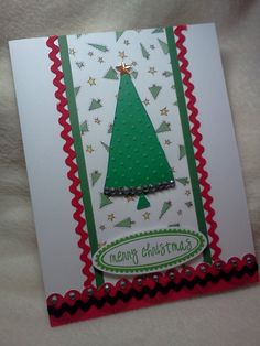 Items similar to Christmas Card.Very Pretty Embossed Christmas Tree Homemade Greeting Card on Etsy Homemade Greeting Cards, Homemade Christmas Cards, Christmas Cards To Make, Xmas Cards, Christmas Sentiments, Christmas Greetings, Merry Christmas, Very Lovely, Nice