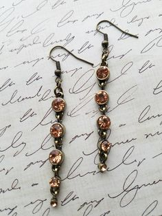 RECEIVE A FREE GIFT WITH ANY PURCHASE- offer ends 12/4/16! https://www.etsy.com/listing/469366328/long-dangle-bronze-and-morganite