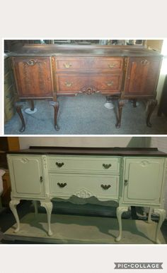 Before after #diy #buffet #server #sideboard Stained top and painted body