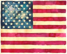 Star Spangled Banner Watercolor Print  American Flag by FuzzyCraft