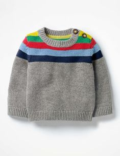 Knitting Patterns Jumper Cold spell on the way? Dress up your little one in this cheery striped jumper to brighten up dreary … Baby Knitting Patterns, Baby Cardigan Knitting Pattern Free, Baby Sweater Patterns, Knit Baby Sweaters, Knitting For Kids, Knitting Designs, Crochet Baby, Cashmere, Breeze