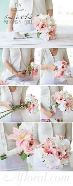 Learn how to assemble a simple silk flower bouquet with this DIY from WedIdeas made with gorgeous silk flowers from afloral.com. #silkflowers Design: Wedideas.com Photos: Bridgett Anderson Photography