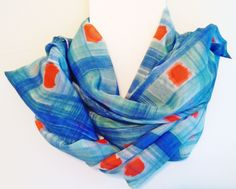 Silk Scarf Hand painted blue green and orange, Zijden sjaal met de hand beschilderd blauw groen en oranje,140 x 40 cm (55 x 15, 5) inches door Silkatelier op Etsy