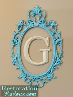 Vintage Mirror Turned Initial Frame http://www.restorationredoux.com/?p=3440