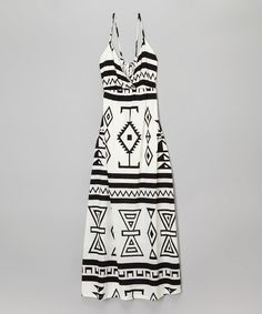Look at this Vintage Havana Black & White Geometric Maxi Dress - Girls on #zulily today!