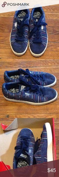 2d61b99fbbac71 Puma Sneaker Suede Blue w  red and white Stripes Puma Sued low-top rare