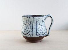 Handmade Pottery Mug, White and Purple Spiral Cup,  For tea, coffee, cocoa, chai