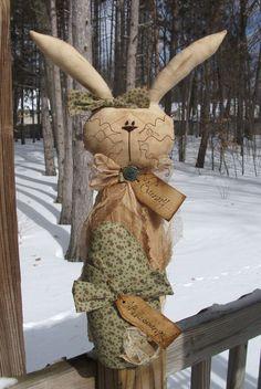 Folk Art PrimiTive SPRING Cottage EasTer EGG GruNgy BuNNy RABBIT DOLL Decoration
