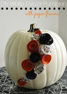 DIY White Decor Pumpkin with Paper Flowers #halloweendecor #pumpkindecor #paperflowers