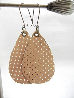 Beige Leather Teardrop Earrings, Perforated Tear drop Earrings,  Bronze Kidney Ear Wires, Leather Jewelry  Handmade by Bumbleberry Jewelry by BumbleberryJewelry on Etsy #beige #leather #teardrop #earrings #perforated