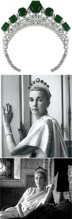 The Vladimir Emerald Tiara made by Cartier and fashioned from the emeralds that belonged to the Grand Duchess Vladimir, it can also be worn as a necklace. Barbara Hutton, the Woolworth heiress, pictured here wearing the Vladimir Tiara, together with a pair of emerald and diamond pendent earrings. The last picture is of Barbara Hutton, and the Marie Antoinette pearl necklace, photographed by Cecil Beaton in 1961, at Sidi Hosni, her palace in Tangier, where she held legendary parties.