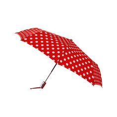 Women's Leighton Manhattan Compact Umbrella - Red/White Poka Dot (€29) ❤ liked on Polyvore featuring accessories, umbrellas, polka dot umbrella, red white umbrella, leighton umbrella, dot umbrella and red umbrella