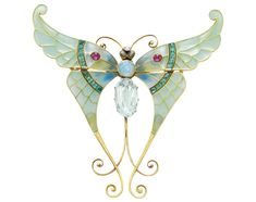AN ART NOUVEAU ENAMEL AND MULTI-GEM BUTTERFLY, BY BOUCHERON