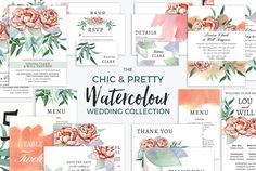 Watercolor Wedding Invitation Templates | Chic and Pretty Watercolor Wedding Collection | DIY Brides Wedding Invitation Collection