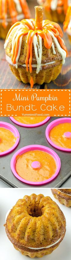 Mini Pumpkin Bundt Cake - Adorable recipe and they are really easy to make! It is perfect for Thanksgiving or even Halloween party! A frighteningly delicious treat with pumpkin and cream cheese filling - Mini Pumpkin Bundt Cake! by lana Thanksgiving Recipes, Fall Recipes, Holiday Recipes, Thanksgiving Feast, Holiday Appetizers, Holiday Cakes, Holiday Desserts, Holiday Treats, Holiday Decor