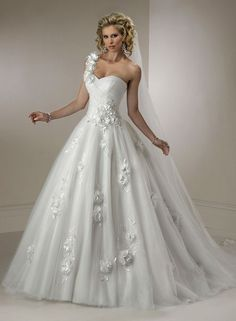 One Shoulder Ball Gown Wedding Dress - DELARIZ