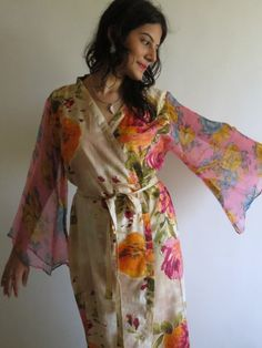 Robe with floral chiffon sleeves made from D2 Fabric Pattern