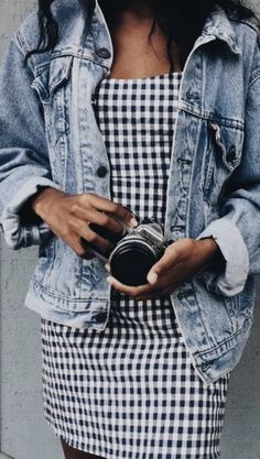 levis denim jacket + gingham dress   #ootd   outfit ideas