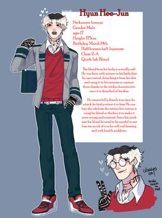 Updated my BHNA OC and now his name is Hyun Hee-Jun o/. Also fixed some stuff of his quirk and design, i like him more like this My Hero Academia Memes, Buko No Hero Academia, Hero Academia Characters, Fantasy Characters, Character Concept, Character Art, Character Ideas, Attack On Titan, Avatar