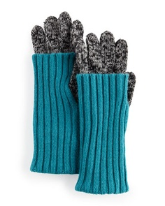 Fold-Over Cuff Smart Gloves, Black/Turquoise - Last Call by Neiman Marcus 50$