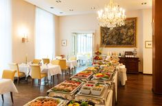 Buffet breakfast in the restaurant with open-view kitchen. Breakfast Buffet, Restaurant Bar, Vienna, Table Settings, Kitchen, Cooking, Breakfast Buffet Table, Kitchens, Place Settings