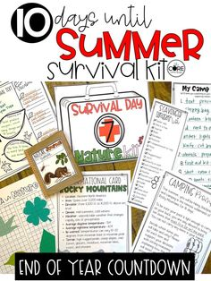 Countdown the last days of school with these fun full day lesson plans. Each kit includes themed lesson plans that will engage your students ALL day long.
