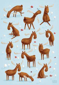"""Moose Art Print - Greg Abbott~ (envelope insert: """"I MOOSE YOU"""")"""