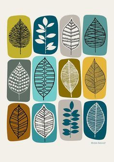 Leaf Blocks green open edition giclee print by EloiseRenouf