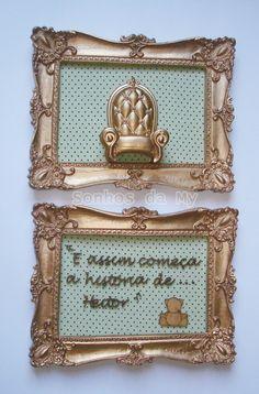 Kit de quadro dourado, fundo poá verde com marrom, aplique poltrona real dourada,e frase mdf com nome,