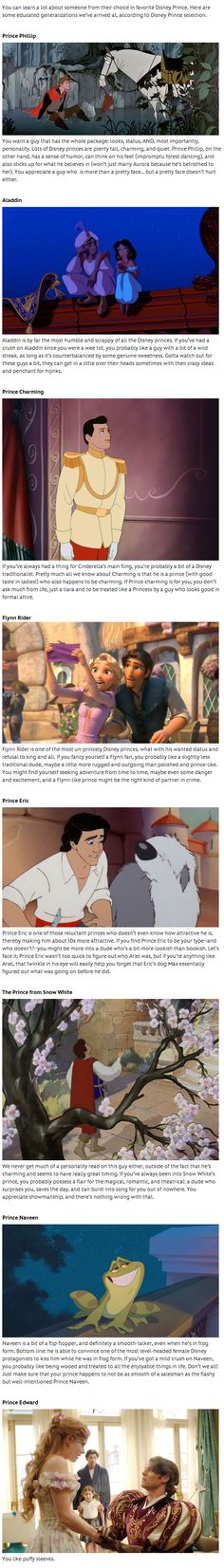 What your favorite Disney Prince says about you.... I'm a little in between Aladdin and Flynn but the last one was my favorite- You like puffy sleeves:)