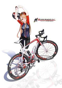 Fashion and Lifestyle Anime Art Girl, Manga Art, Manga Anime, Cycling Girls, Cycling Art, Cycling Quotes, Cycling Jerseys, Bicycle Art, Bicycle Design