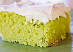 Key Lime Cake     1 box lemon cake mix  1 1/3 c. vegetable oil  4 eggs  One 3oz. package of lime flavored gelatin mix  3/4 c. orange juice    Frosting  1/2 c. butter (1 stick)  One 8oz. package cream cheese  3 tbsp. fresh lime juice  4 c. confectioners sugar